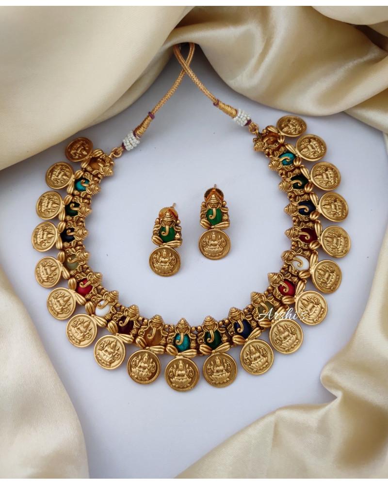 Navarathna Ganesha Temple Coin Necklace