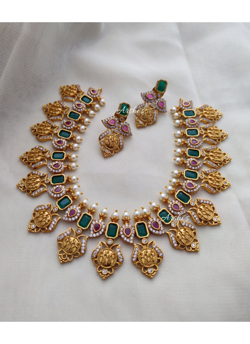 Emerald Red and Green Ramparivar Necklace