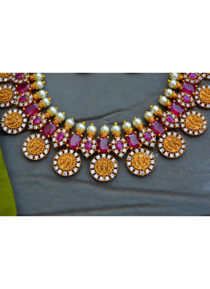 Emerald Red Matte Ramparivar Necklace