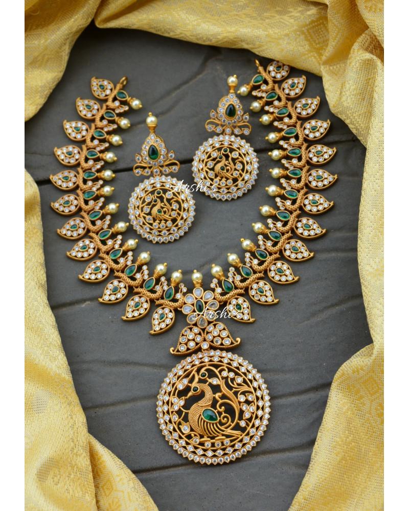 Grand Bridal Peacock and Mango Design Necklace