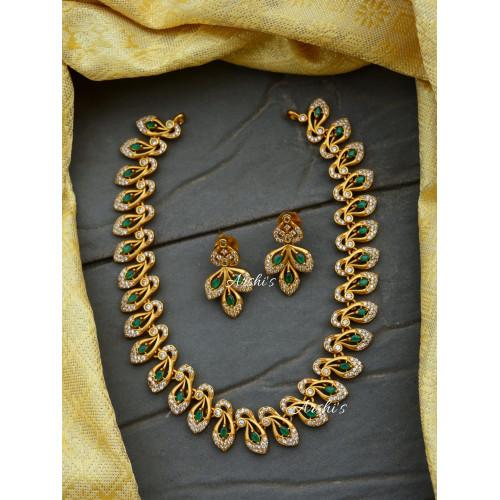 Elegant and Trendy Diamond alike Green AD Necklace