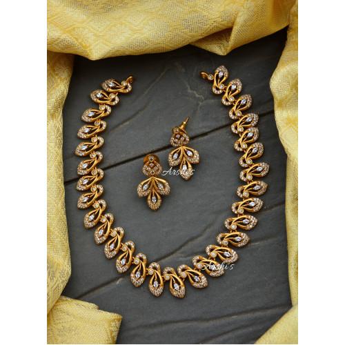 Diamond alike Peacock AD Stone Necklace