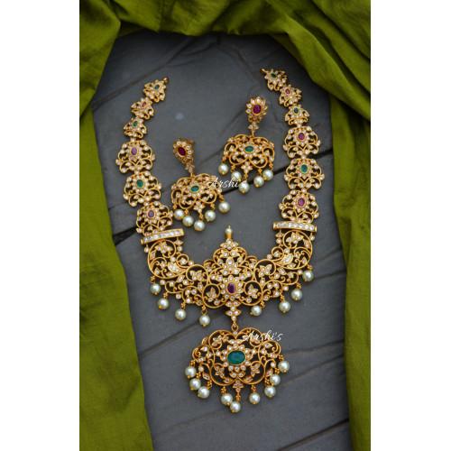 Grand Flower Design AD Stone Necklace