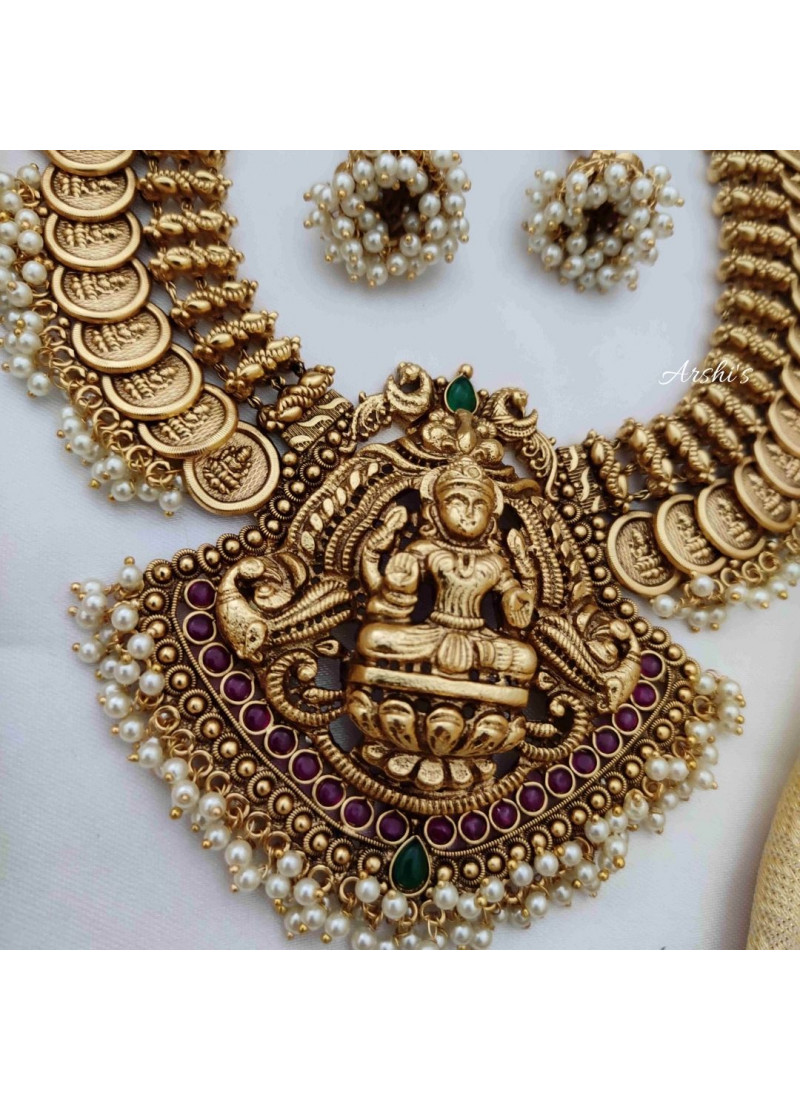 Beautiful Temple Coin Necklace with Pearl Hangings