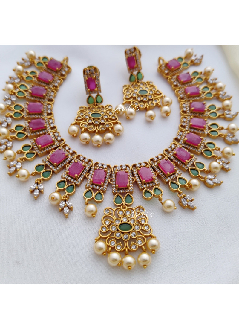 Elegant AD Necklace with Red and Green Stones