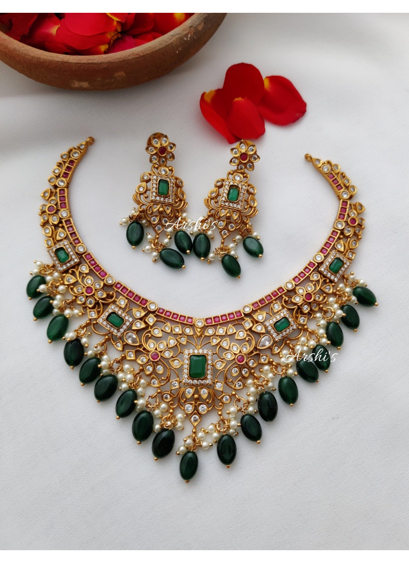 AD Multi Stone Necklace with Green ..