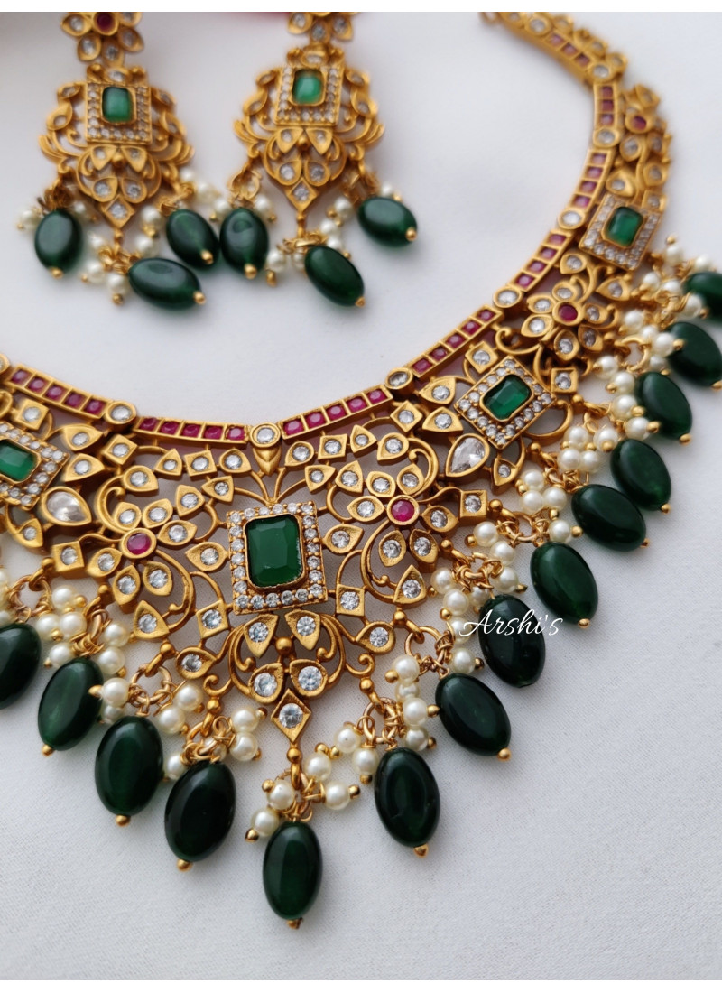 AD Multi Stone Necklace with Green Beads