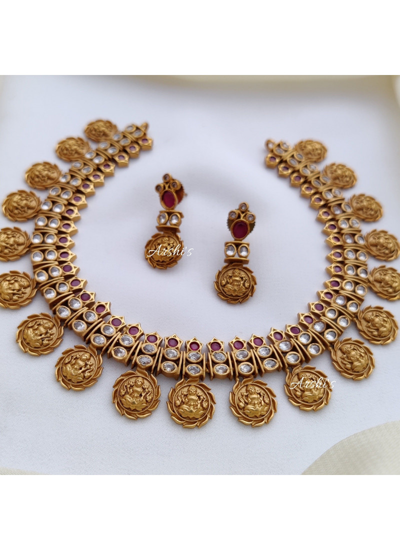 Classy Lakshmi AD and Ruby Stone Necklace