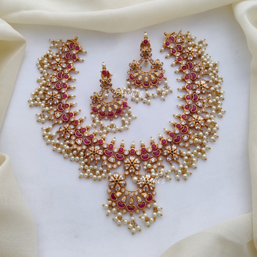 Premium Quality Guttapusalu AD Stone Necklace