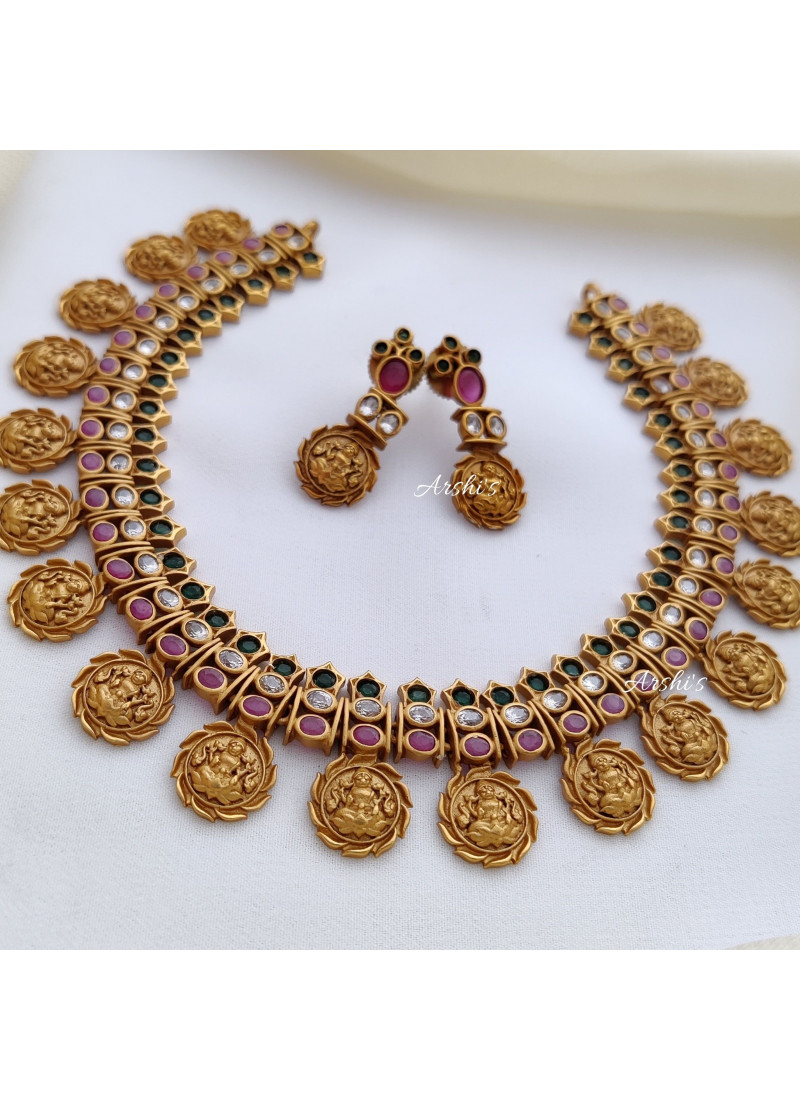 Traditional Temple Coin Ruby and Green Stone Necklace