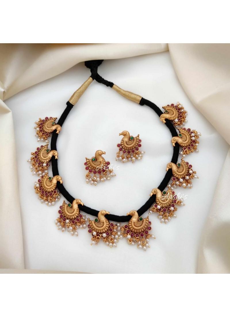 Black Threaded Peacock Design Necklace