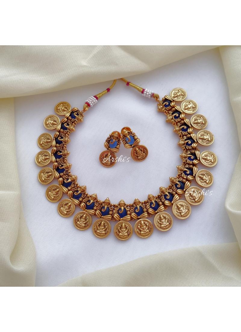 Traditional Royal Blue Ganesha Lakshmi Coin Necklace