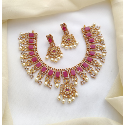 AD Ruby Stone with Pearls Necklace