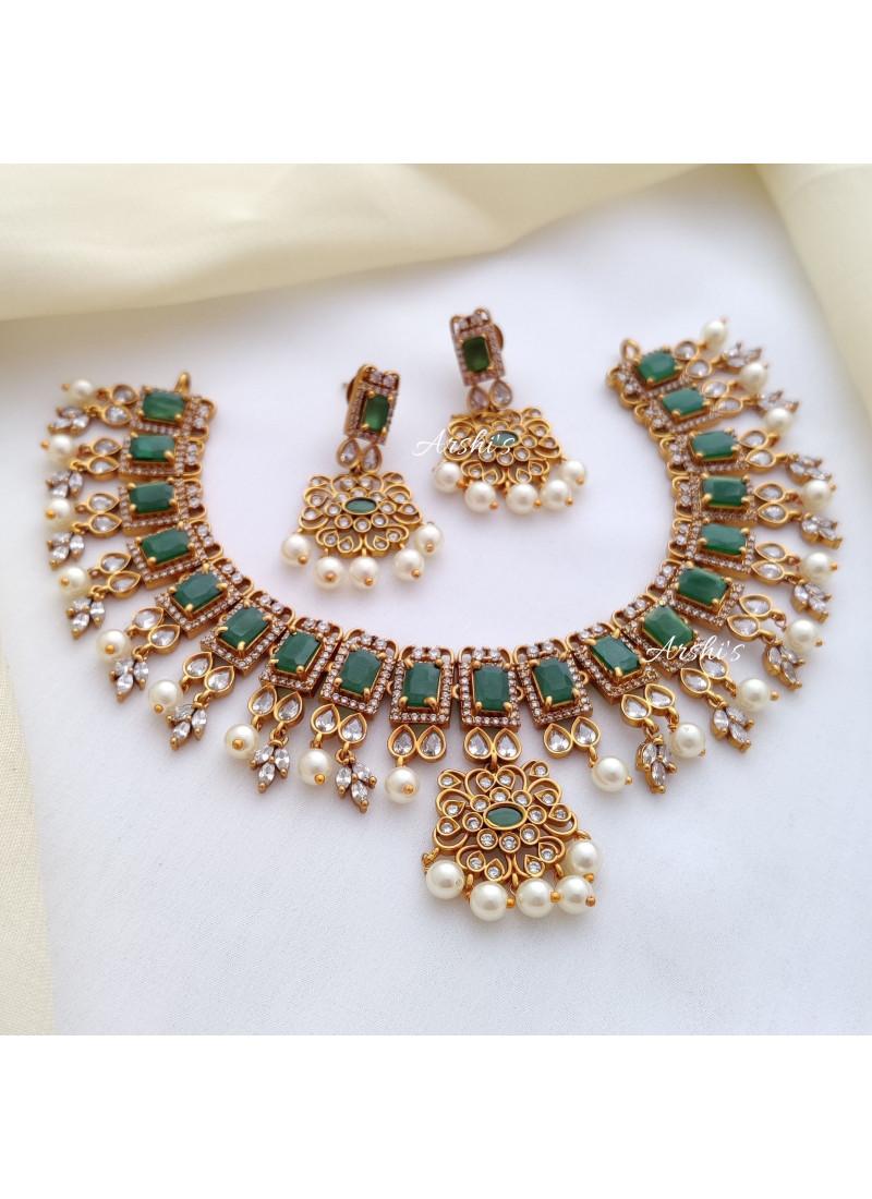 Elegant AD Green Stone Necklace