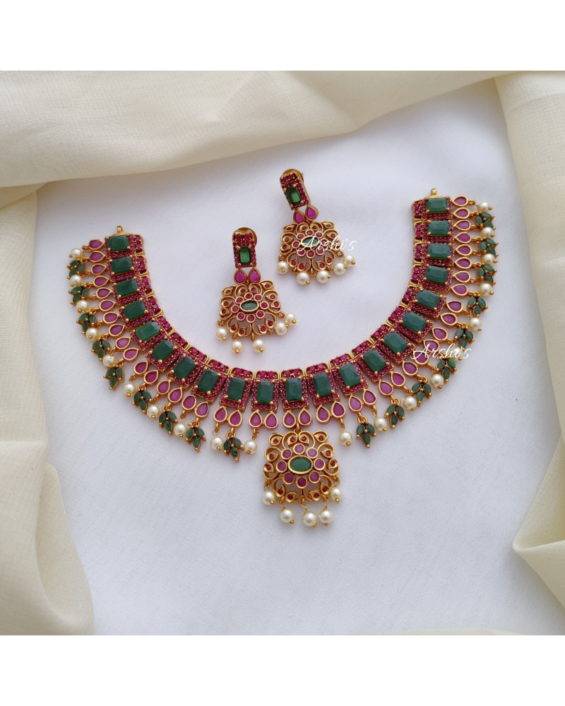 Gorgeous Red and Green AD Stone Necklace