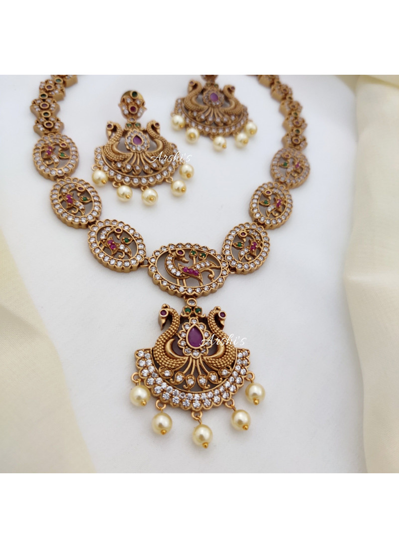 Classy AD Peacock Design Necklace
