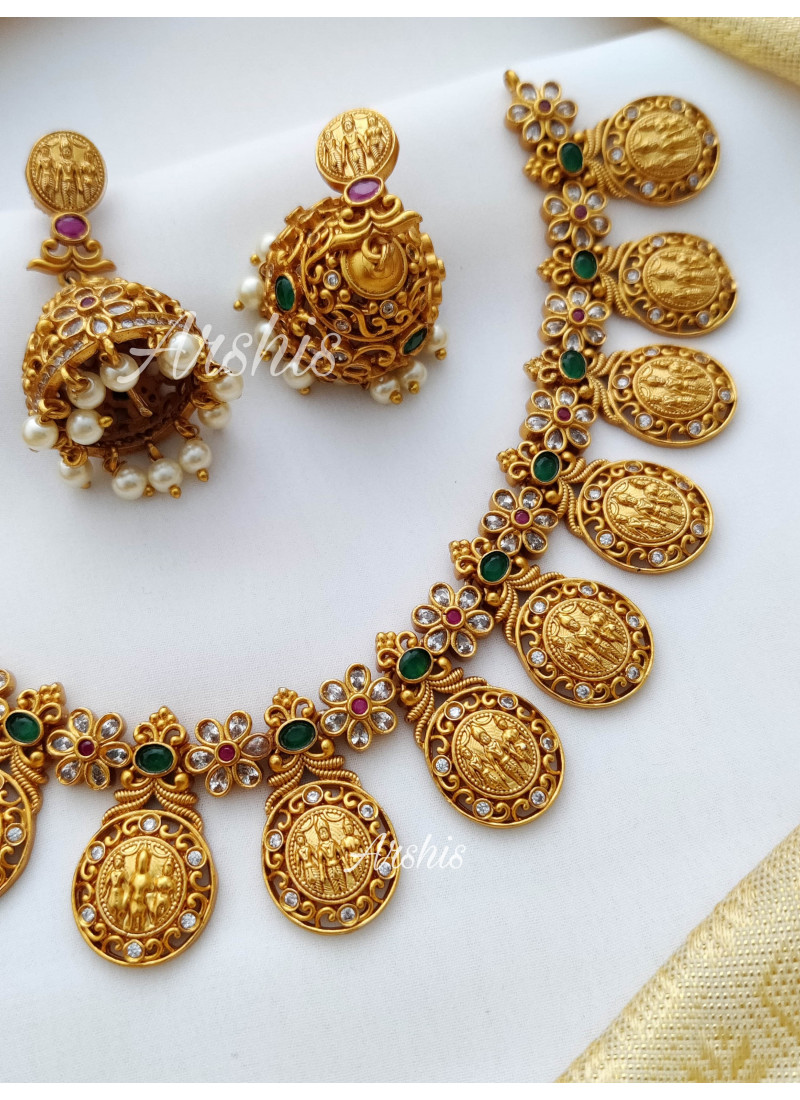 Classy Ruby and Green Ramparivar Necklace