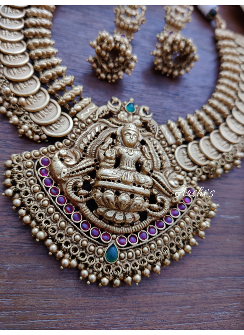 Antique Finish Lakshmi Coin with Pendant Necklace