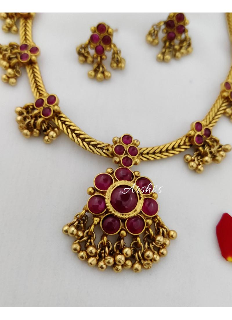Antique Finish Kemp Stone Necklace
