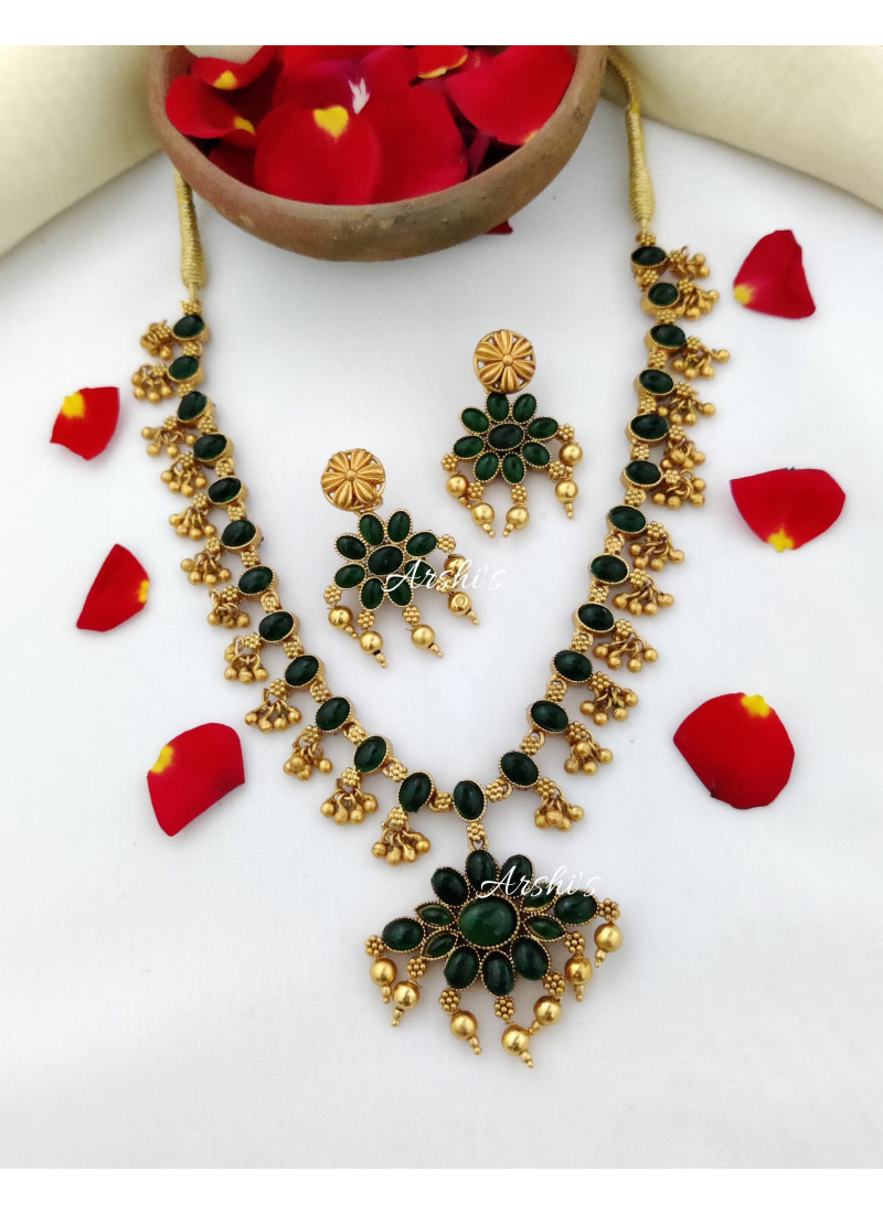 Beautiful Dual Side Red and Green Stone Necklace