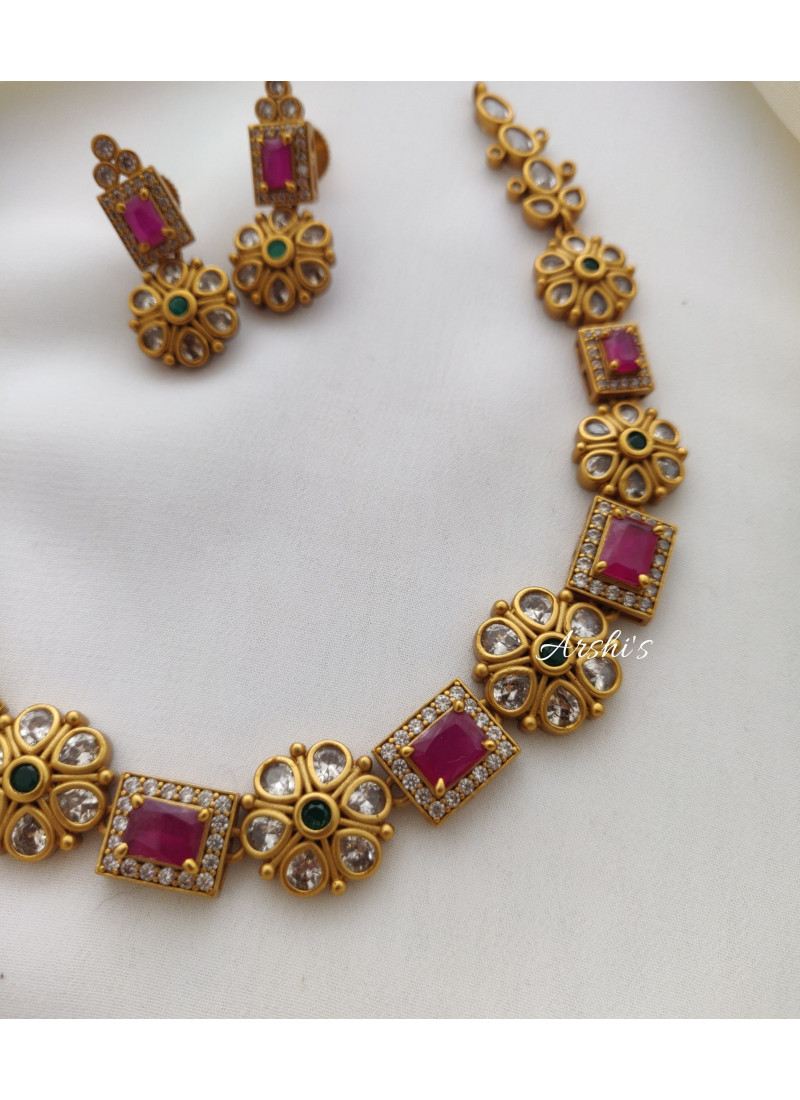 Pretty Ruby and Green AD Necklace