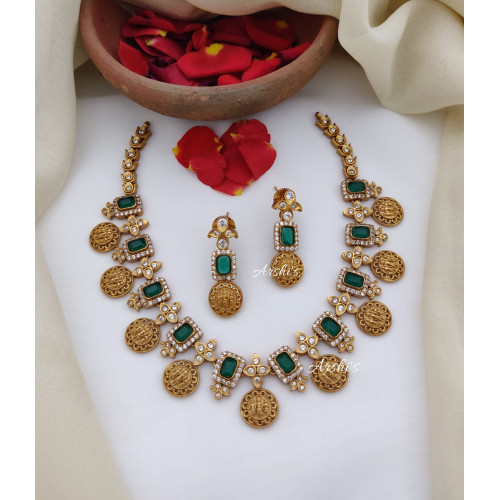 Green and White AD Ramparivar Necklace