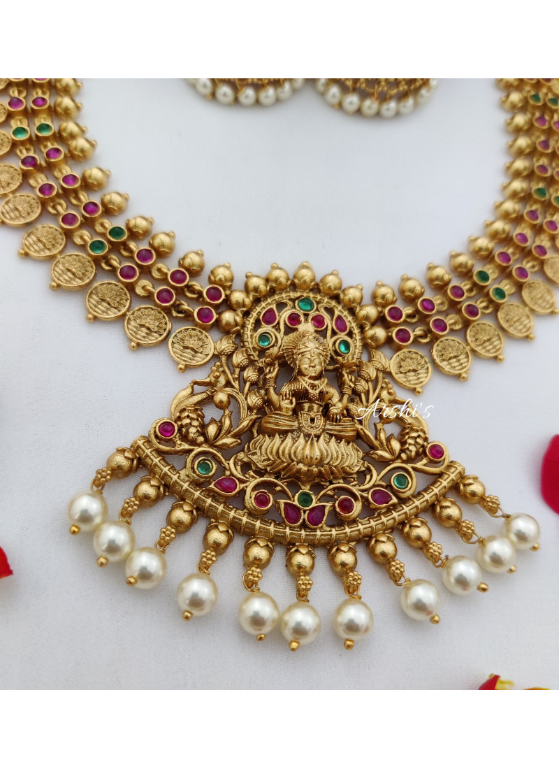 Traditional Temple Lakshmi Red and Green Necklace