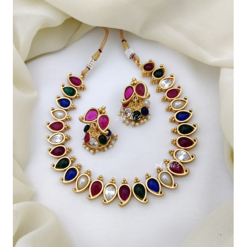 Trendy and Elegant Multi Color Stone Necklace