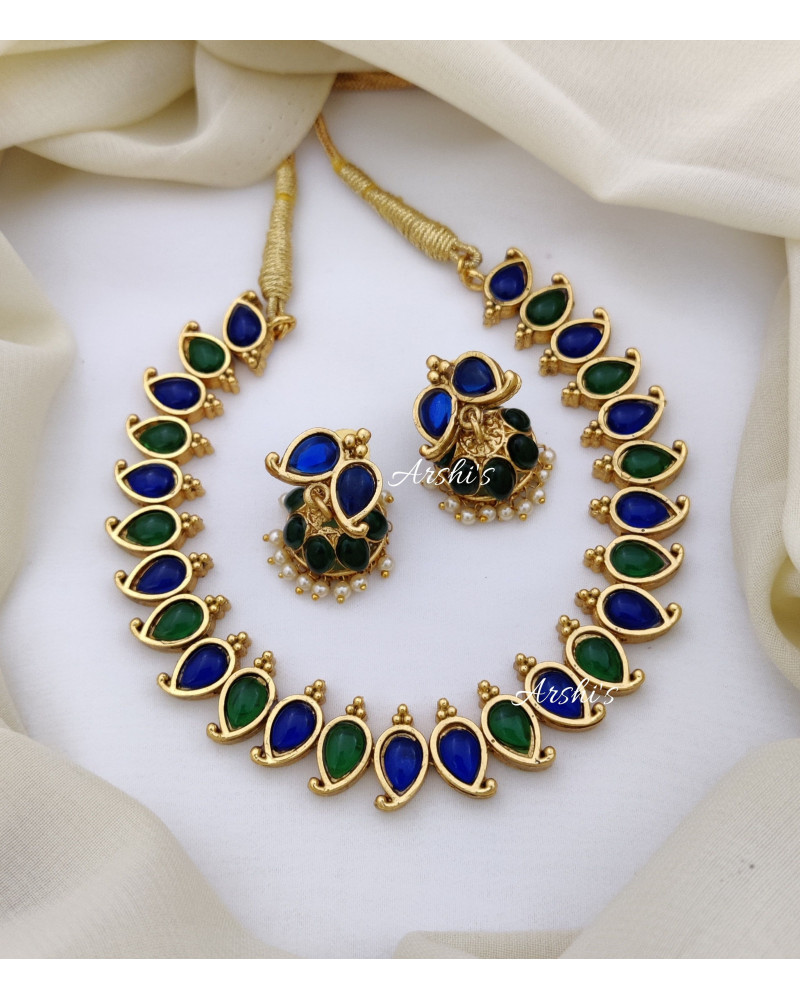 Green and Blue Stone Trendy Necklace