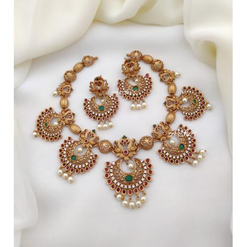 Peacock and Chandbali Design AD Necklace