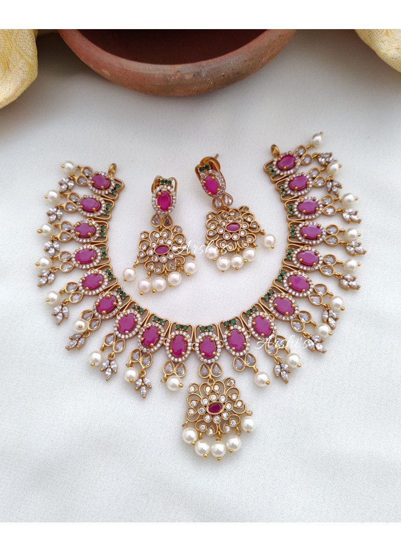 Adorable Ruby and Green AD Necklace