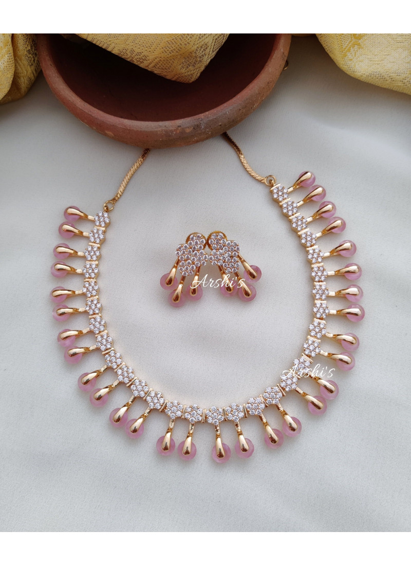 Trendy Rose Gold AD Stone Necklace