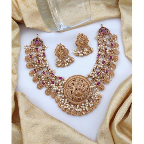 Beautiful Lakshmi Coin Peacock Pendant Necklace