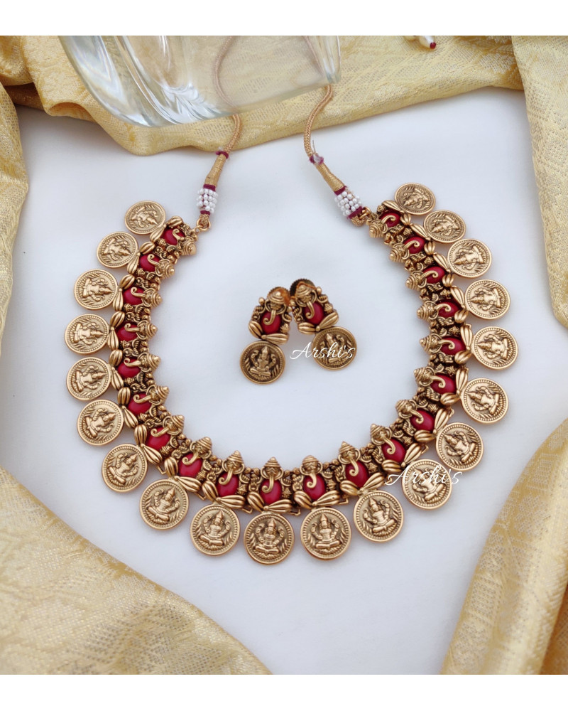 Traditional Red Ganesha Lakshmi Coin Necklace