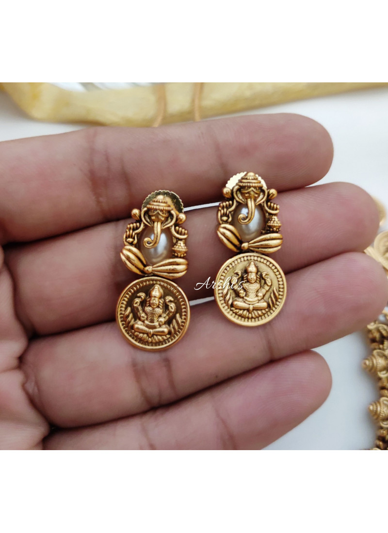 Traditional White Pearls Ganesha Lakshmi Coin Necklace