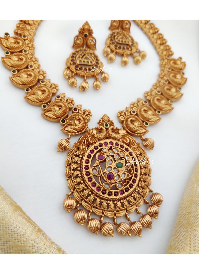 Grand Kemp Stone Peacock Design Necklace
