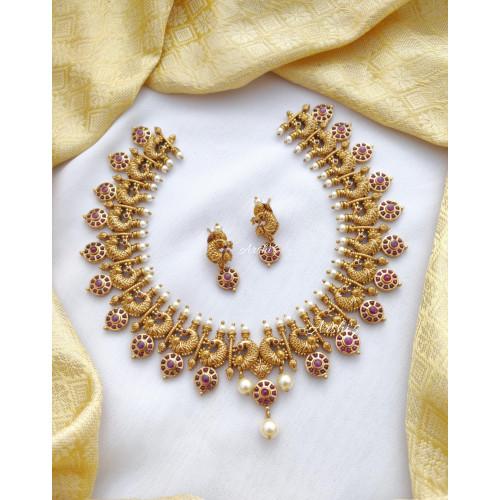 Bridal Real Kemp Peacock Necklace