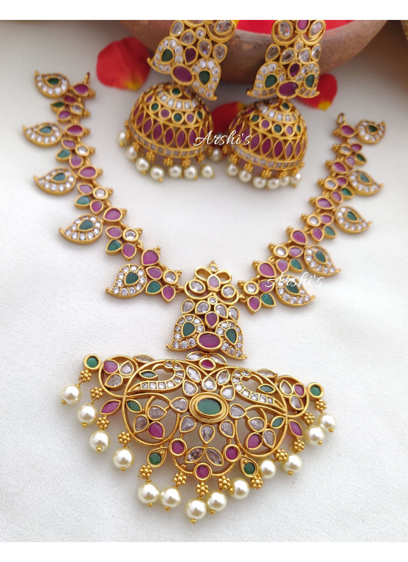 Trendy Ruby and Green Mango Necklace