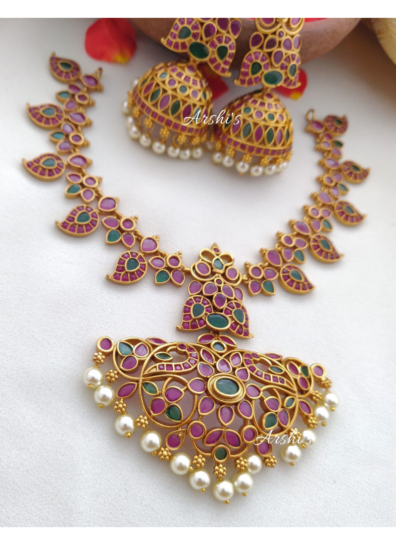 Classic Ruby and Green Mango Peacock Necklace