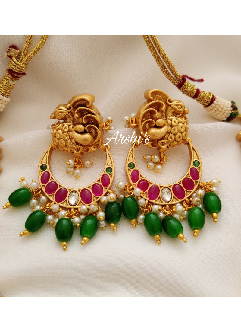 Bridal Dual Peacock Kemp Emerald Beads Necklace