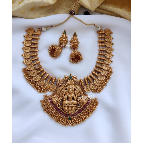 Heavy Temple Coin with Pendant Necklace