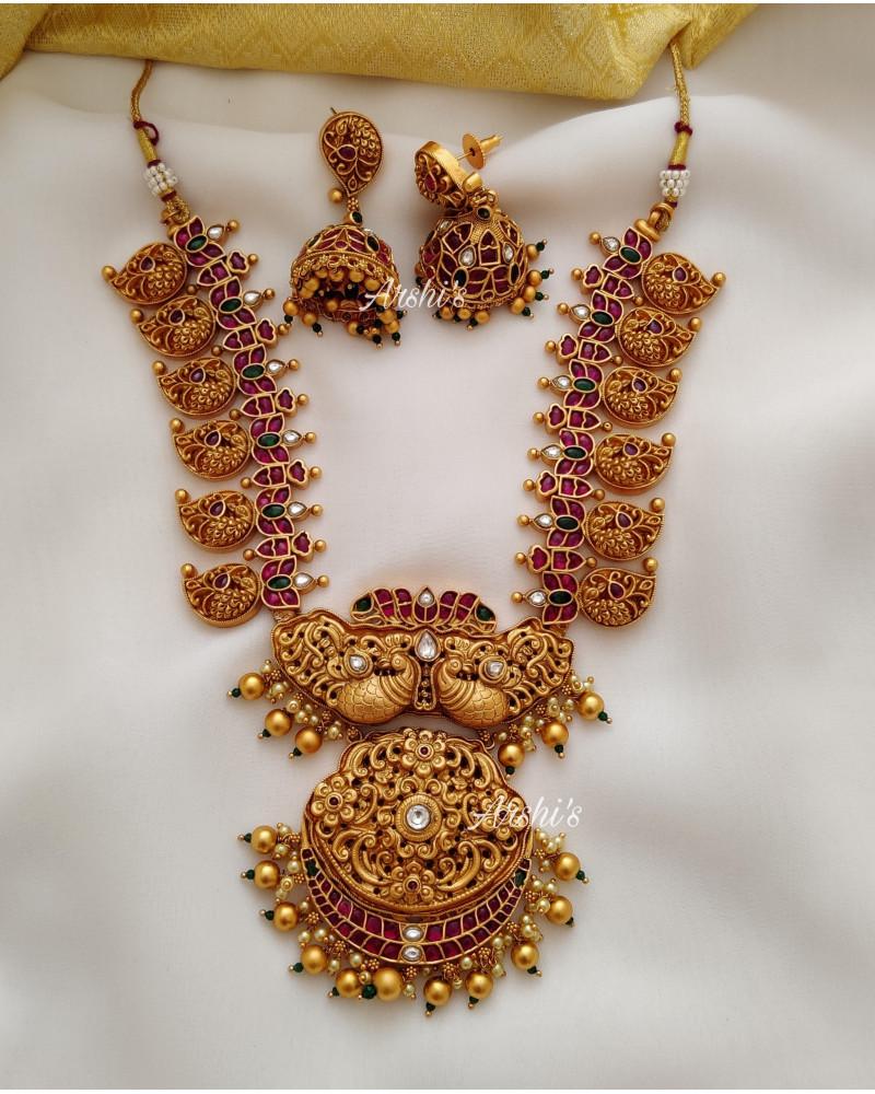 Bridal Dual Peacock Heavy Mango Necklace