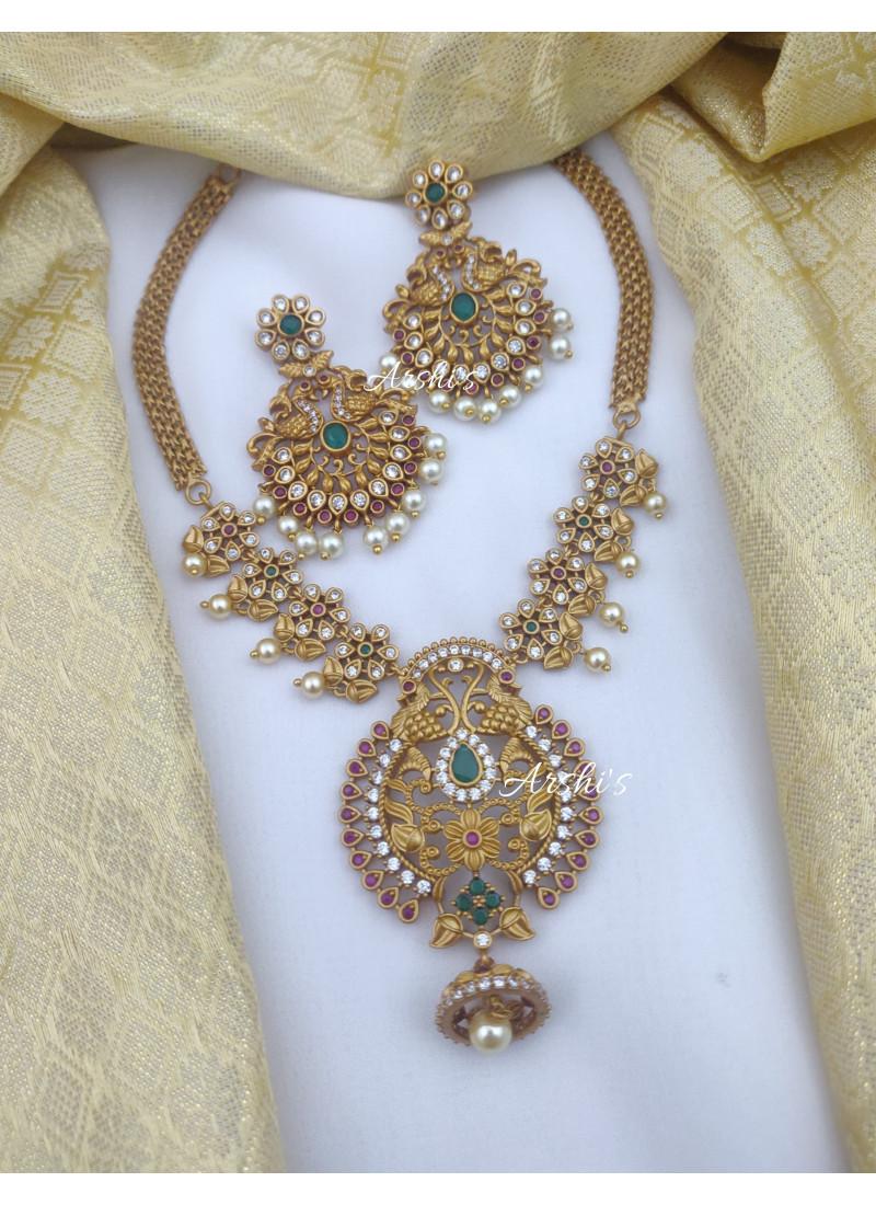 Imitation AD Stone Peacock Necklace