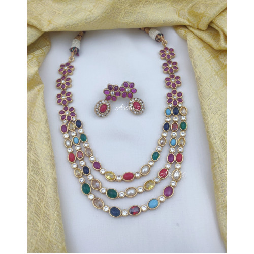 Three Layered Multi Color Necklace