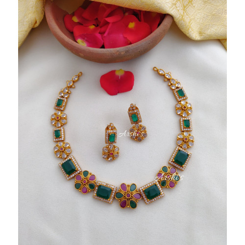 Simple Emerald AD Stone Necklace