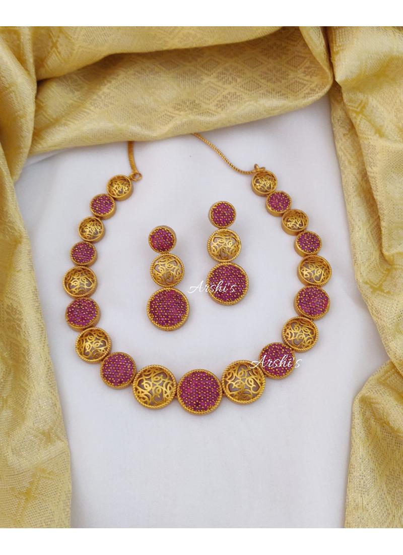 Beautiful Imitation Ruby Necklace
