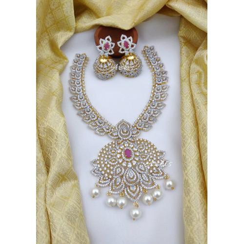 Diamond alike Flower AD Stone Bridal Necklace
