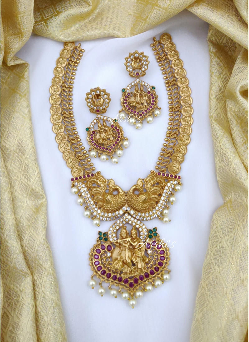 Traditional Radha Krishna Peacock Coin Necklace