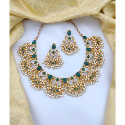 Beautiful Green and White AD Trendy Necklace