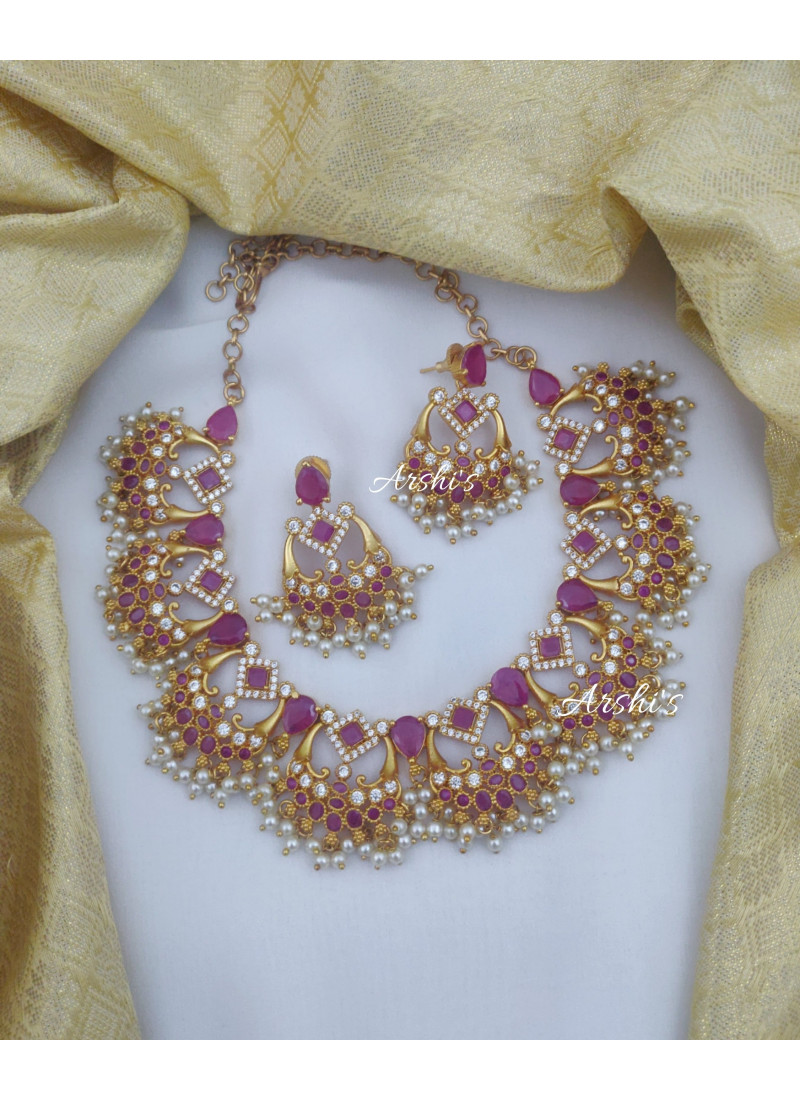 Beautiful Ruby and White AD Trendy Necklace